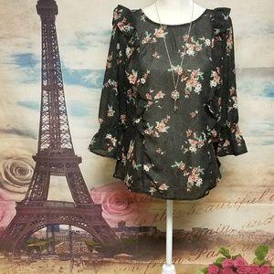 Torrid Floral chiffon black 3/4 sleeve blouse